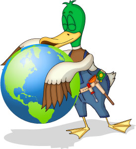 Duck kissing globe for R2K Plumbing in Arizona